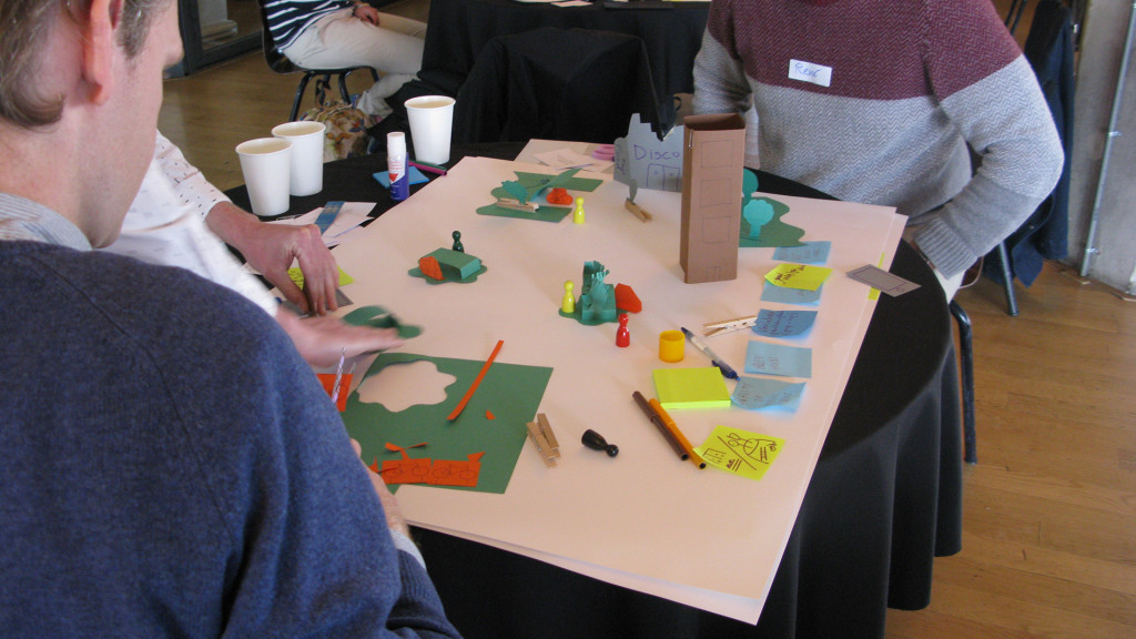 Table with post-its, paper and other workshop materials