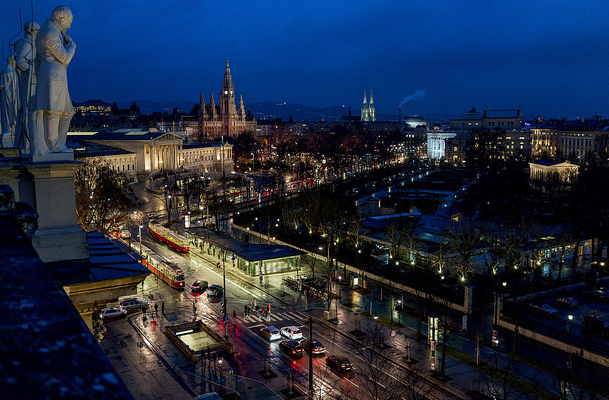 View of city of Vienna at night from a high building.