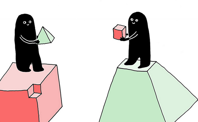 Two drawn figures holding cube and pyramid