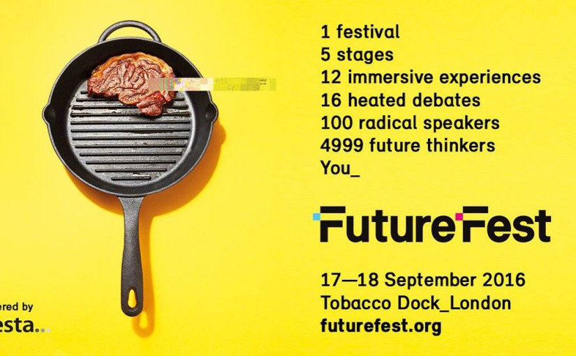Poster for Futurefest with picture of frying pan and steak