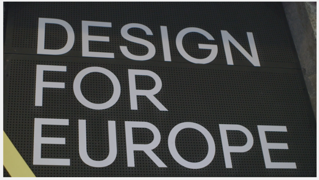 Name of conference on wall: Design for Europe