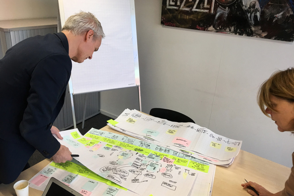 researcher and client studying customer journey maps made by staff
