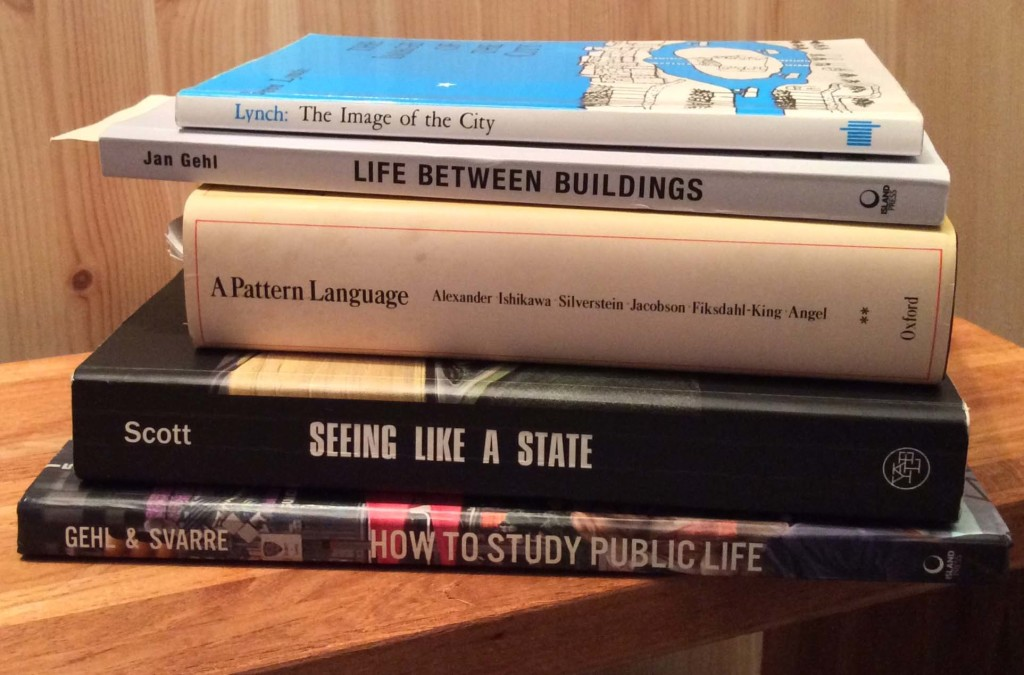 Pile of five books about studying public life.