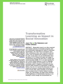 Paper: Transformative Learning as Impact in Social Innovation